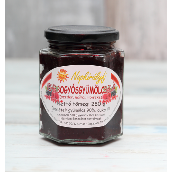 Vegyes bogyósgyümölcs lekvár (szeder, málna, ribizli) 280 g